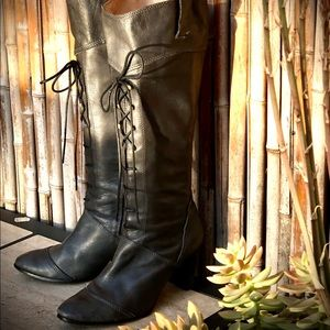 ALL BLACK Gray Leather Lace-up Heeled Boots GUC 41
